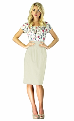 """Charlotte"" Modest Dress in Khaki/Floral"