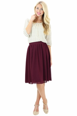 modest skirts chiffon a line skirt in burgundy