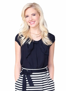 """Chiffon Bow"" Top in Black"