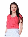 """Chiffon Bow"" Top in Coral"