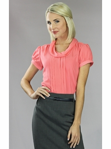 """""""Chiffon Cowl"""" Modest Blouse in Coral"""