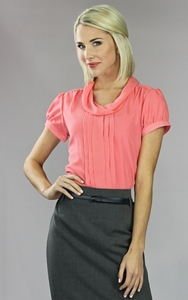 """Chiffon Cowl"" Modest Blouse in Coral"