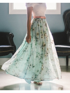 Chiffon Maxi Modest Skirt in Mint w/Floral Print