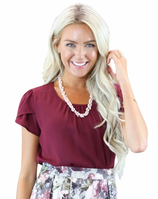Chiffon Modest Top in Burgundy