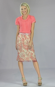 """Chiffon Print"" Modest Skirt in Coral Floral"