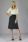 """Chiffon Print"" Modest Skirt in Navy Polka Dot"