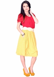 """Chiffon Print"" Modest Skirt in Yellow Polka Dot"