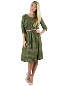 Clara Modest Dress in Moss Floral Print