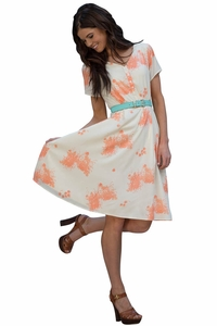 Cora Dress in Cream Peach Print