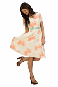 Cora Dress in Peach Floral Print