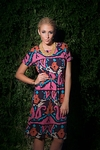"""Corinne"" Modest Dress in Pink Ikat Print"