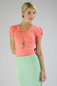 """Cotton V-Neck"" Modest Top in Coral"