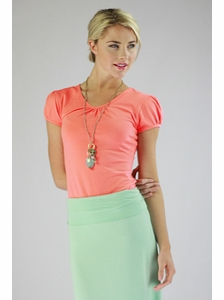 """""""Cotton V-Neck"""" Modest Top in Coral"""