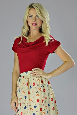 """Cowl Neck"" Modest Top in Poppy Red"