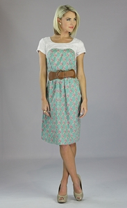 """Daisy"" Modest Dress in Persian Green Print"