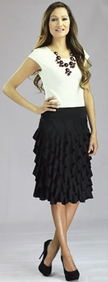 """Diagonal Ruffle"" Modest Skirt in Black"