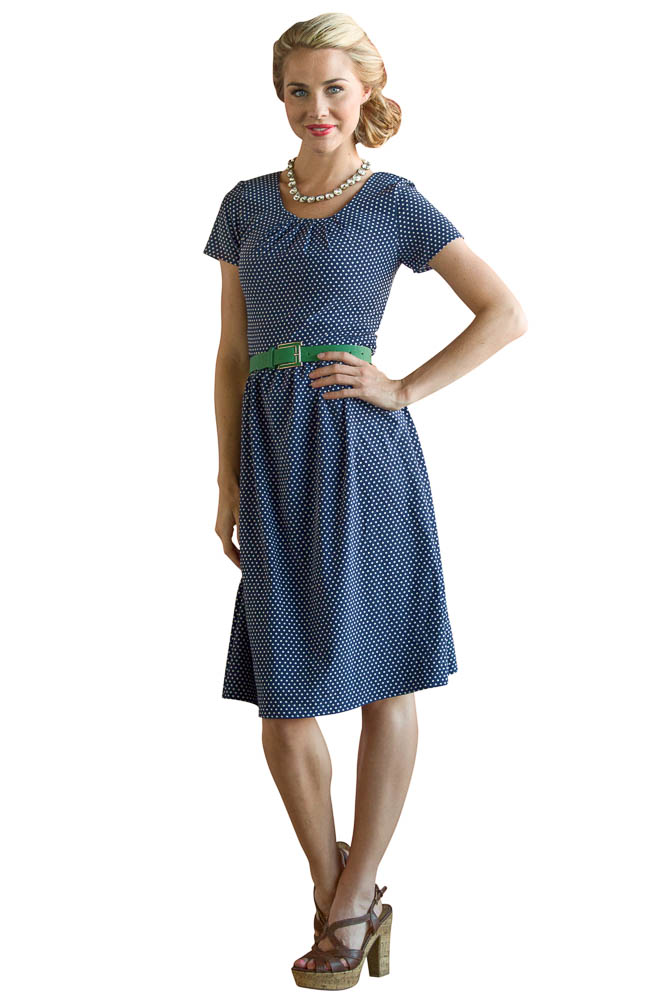 Modest Dresses: Dixie Dress in Navy Polka Dot