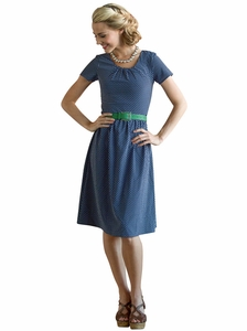 Dixie Dress in Navy Polka Dot