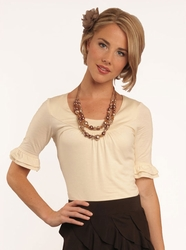Double Bell Sleeve Modest Top in Cream *BACK IN STOCK*