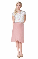 """Double Scallop"" Modest Skirt in Rose"