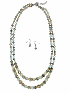 Double Strand Mint Blue Beaded Necklace w/Earrings