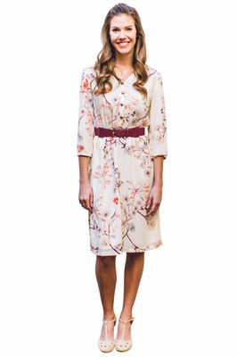 Easton Modest Nursing Dress In Cream W Branch Floral Print