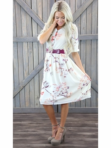 """Easton"" Modest Dress in Cream w/Branch Floral Print"