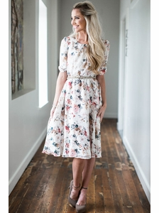 """Easton"" Modest Dress in Cream w/Floral Print"