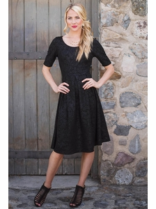 Eliza Modest Dress in Textured Patterned Black