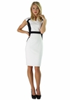 """Elizabeth"" Contrast Dress in White & Black"