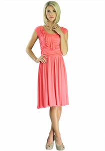 """Ellie"" Modest Dress in Coral *BACK IN STOCK*"