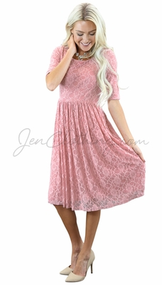 """""""Emmy"""" Modest Dress in Bridal Blush Pink Lace"""