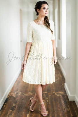"""""""Emmy"""" Modest Dress in Cream Lace"""