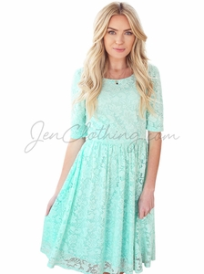 """Emmy"" Modest Dress in Seafoam Mint Green Lace"