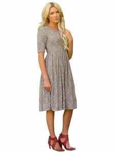 """Emmy"" Modest Dress in Slate Gray Lace *RESTOCKED*"