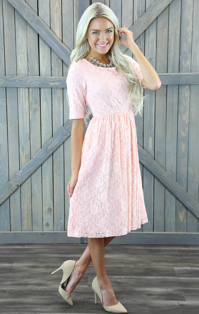 emmy modest bridesmaid dress in sweetheart pink lace