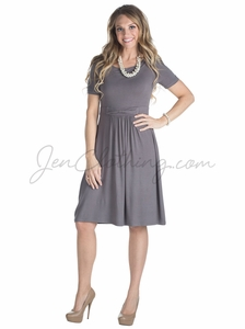 """Erin"" Modest Dress in Charcoal Gray"