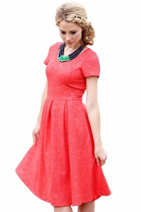Eve Modest Dress in Textured Patterned Coral Red