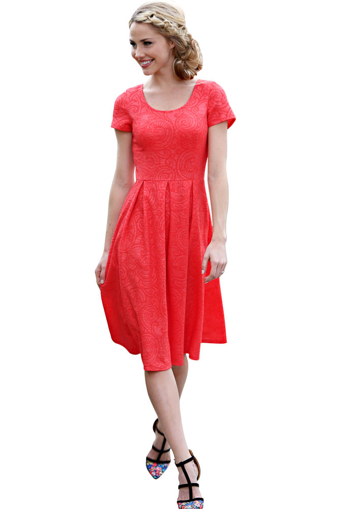 Modest Dresses: Eve in Textured Patterned Coral Red