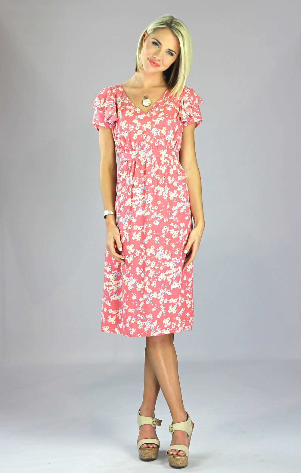 Felicity Modest Flutter-Sleeve Dress in Salmon Pink Floral Print