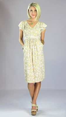 """Felicity"" Modest Dress in Tan Floral Print"