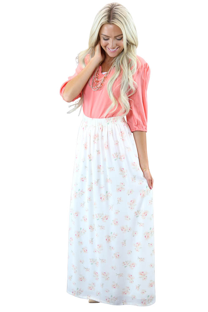 modest maxi skirt in w pink floral print