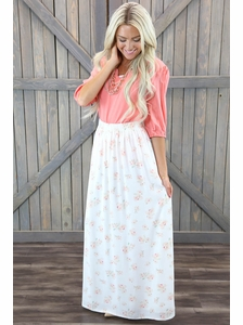 """Floral Maxi"" Modest Skirt in Cream w/Pink Floral Print"