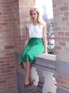 """Full Mid-Length"" Modest Skirt in Green Polka Dot"