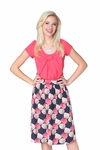 """Gathered Waist"" Modest Skirt in Rose Print"