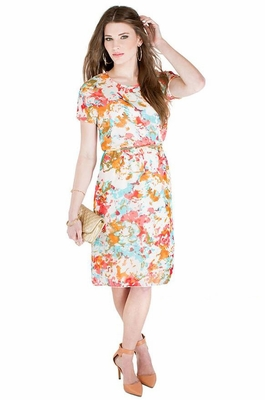 """Gina"" Modest Dress in Floral Print *Final Sale*"