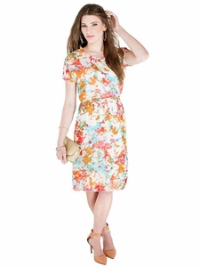 """Gina"" Modest Dress in Floral Print"
