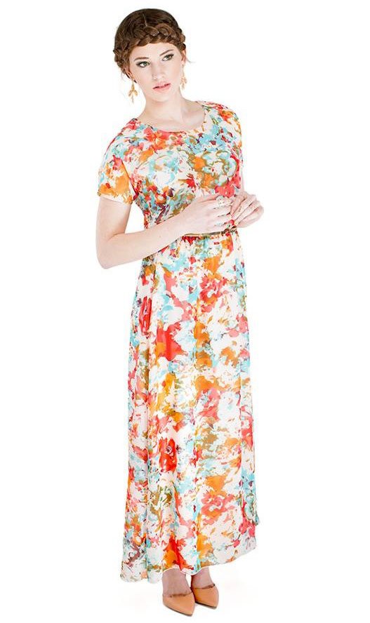 Giselle Modest Floor-Length Maxi Dress w/Sleeves in Floral Print