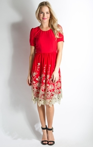 Golden Prospect Modest Dress in Holiday Red
