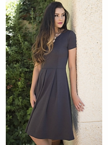 """Grace"" Modest Dress in Charcoal Grey"